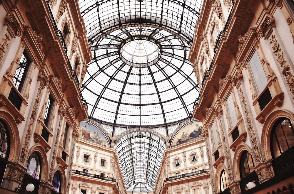 glass ceilings in the Galleria Vittorio Emanuele II