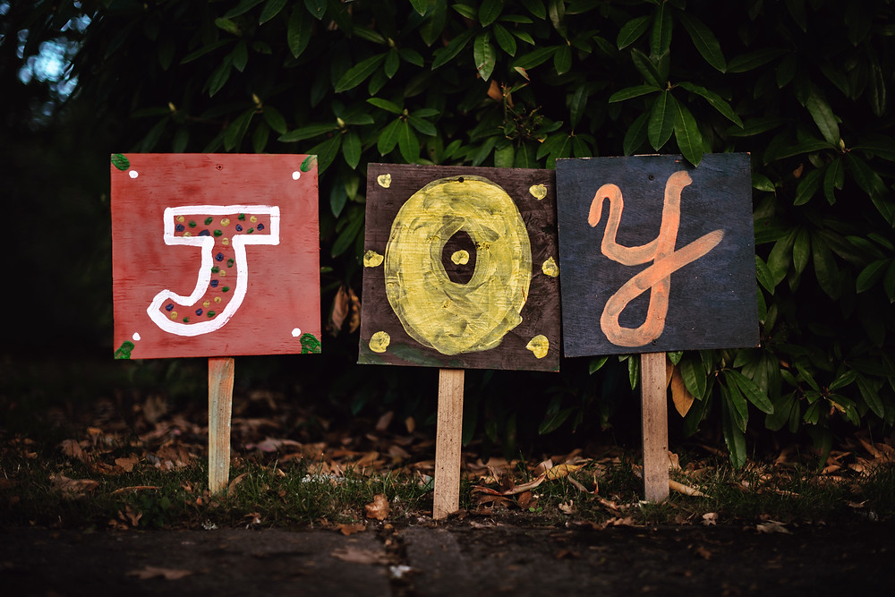 "a yard sign that says ""JOY'"