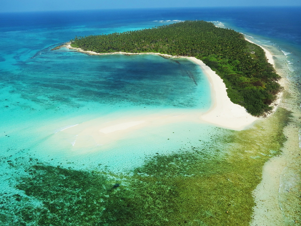 Aerial view of the Minicoy Island, Lakshadweep