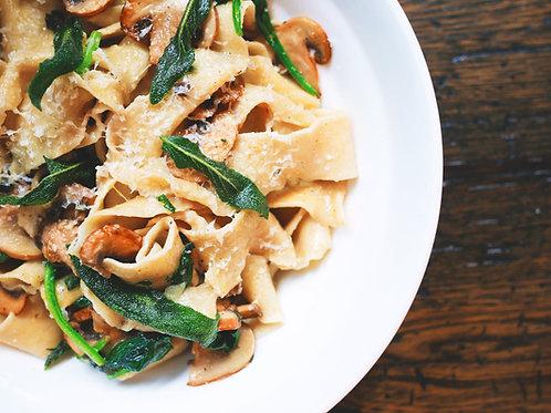 Pasta w/ Beef, Mushrooms, Peas & Onions