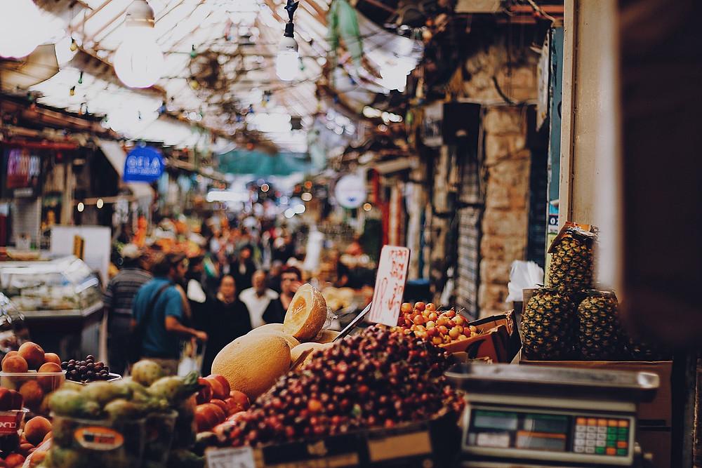 Stacks of fruit in Jerusalem's Shuk