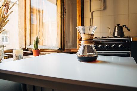 chemex coffee maker on table