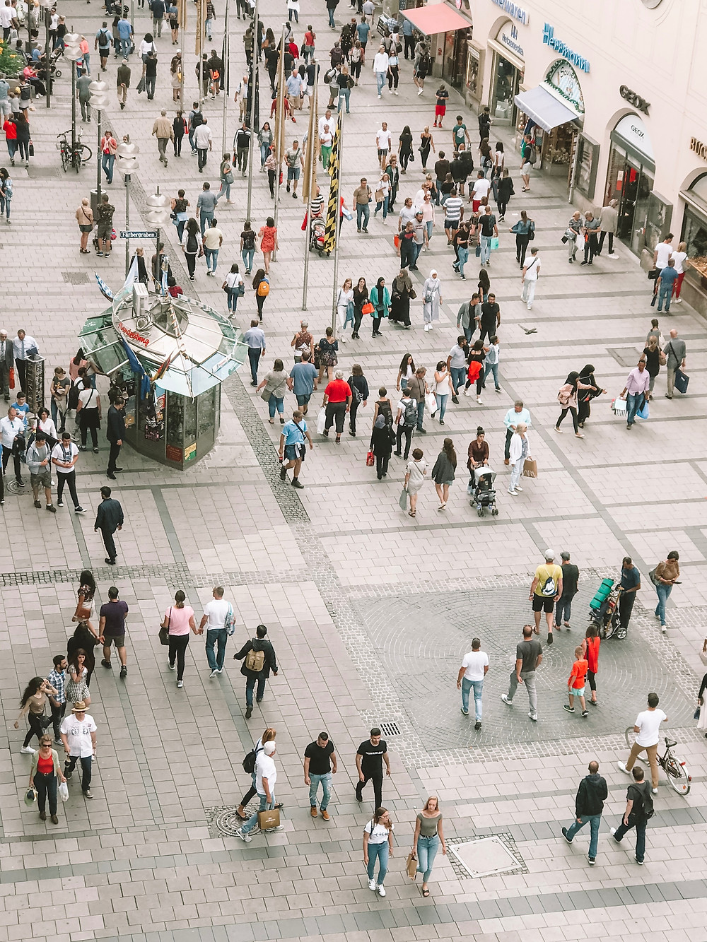 The picture shows a pedestrian zone from above with people walking