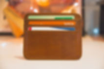 Brown Wallet with Visa and Credit Cards