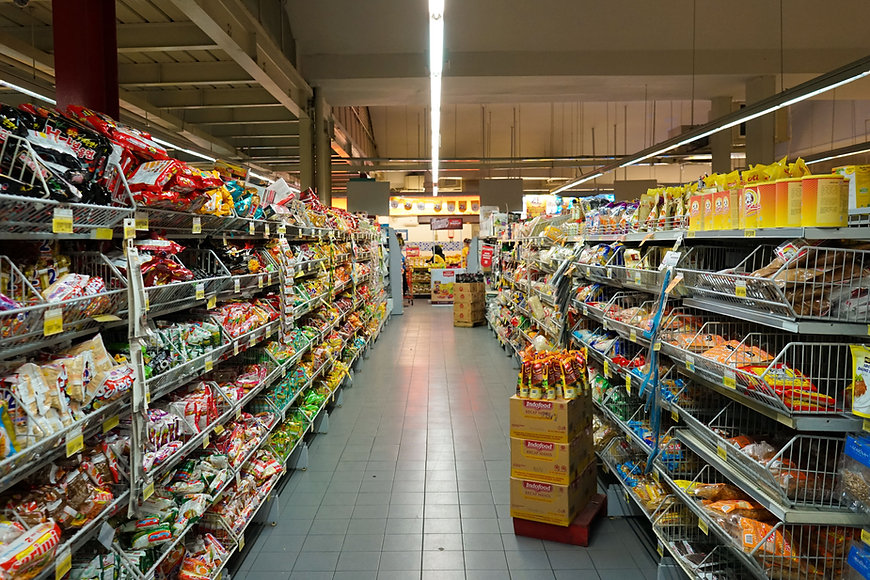Aisle in a supermarket food store