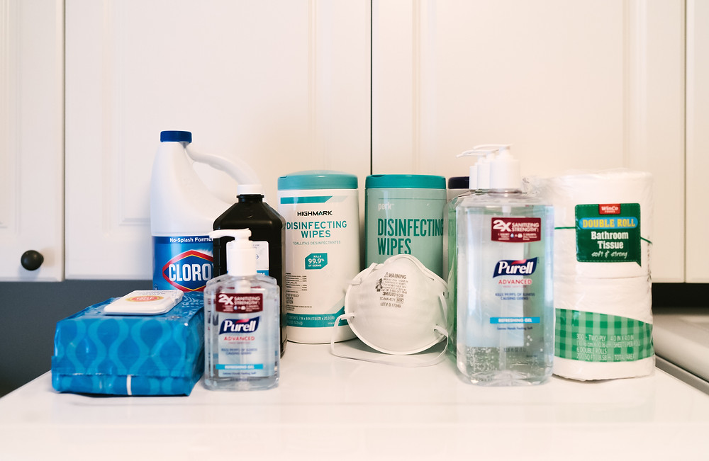 Disinfecting wipes, hand sanitizer, and cleaning solutions