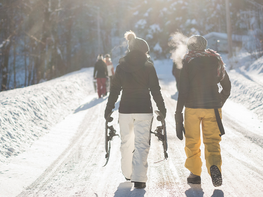 couple walking on snow