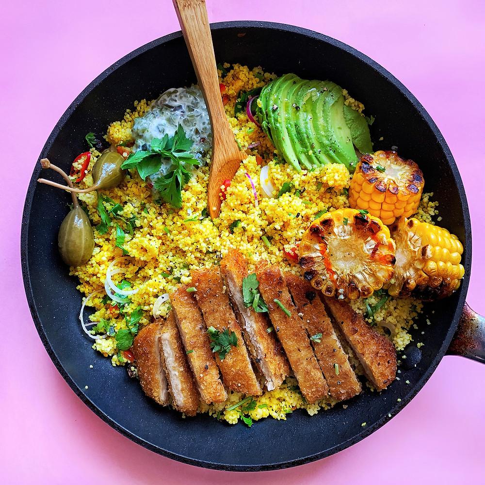skillet vegetarian dinner using beyond meat