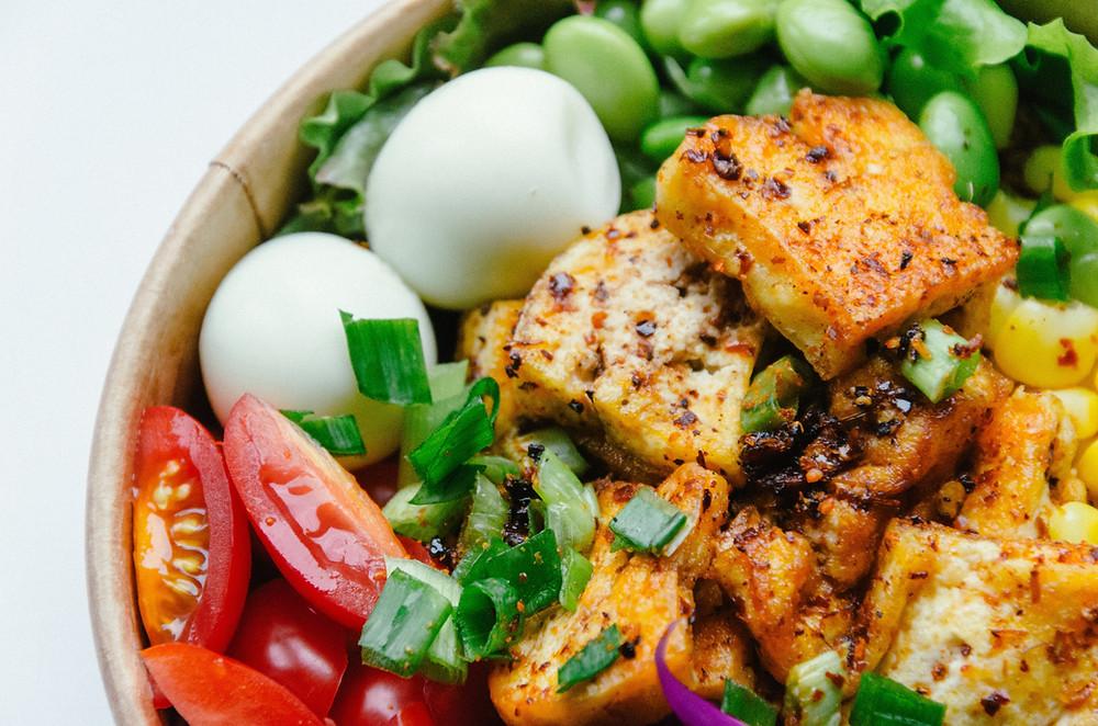 fried tofu vegan rice bowl vegetables