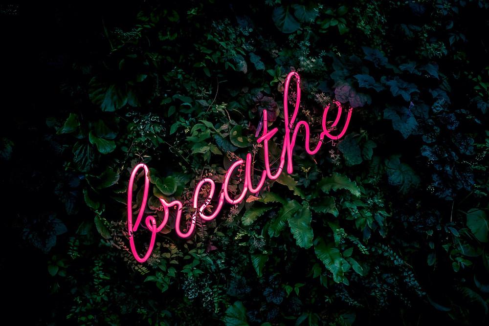 Word breath written in pink cursive