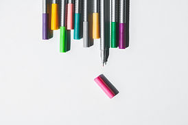 Selection of different coloured pens