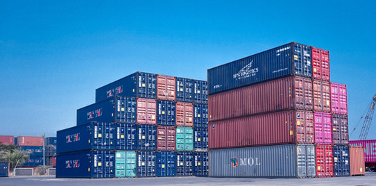 Cargo containers at the port