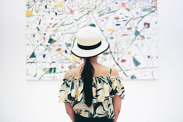 woman in gallery, art, relationship, looking, seeing, evoking, artwork