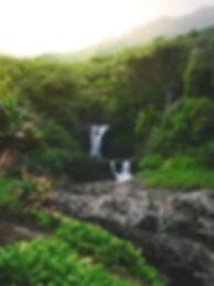Waterfall and jungle in Hawaii.