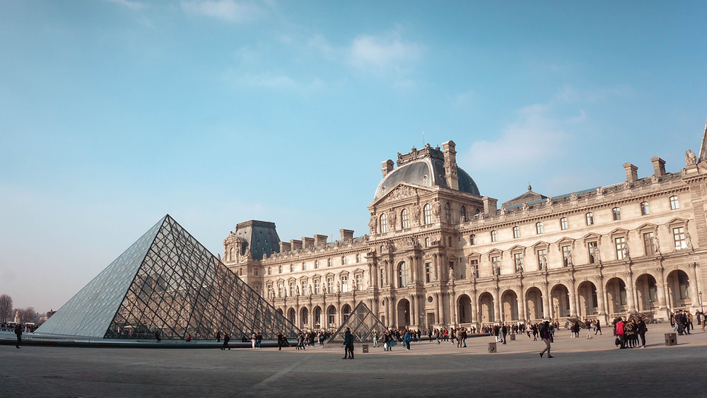 the Louvre Museum and the I.M. Pei Pyramid