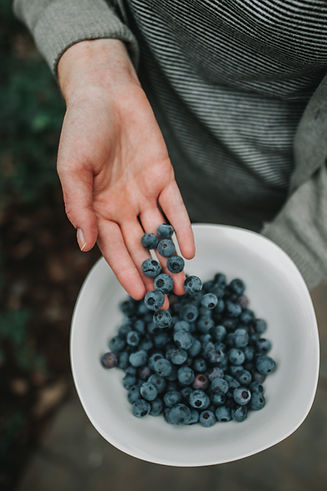 Hand dropping blueberries into a bowl - Image by Benjamin Finley