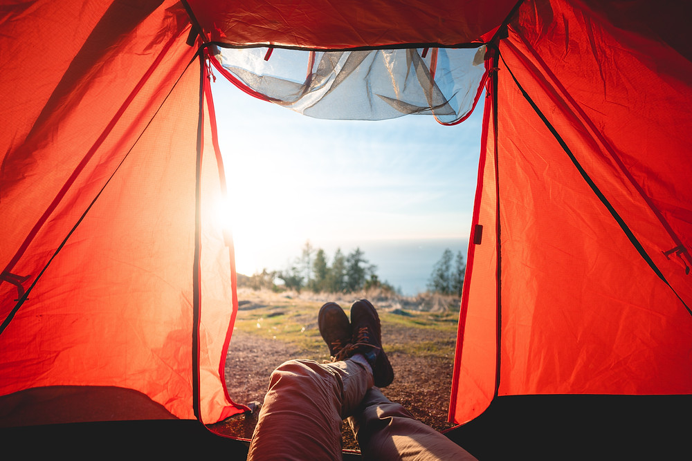 Feet out of tent