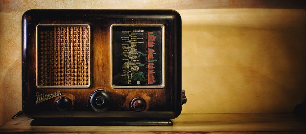 Old radio sitting on counter