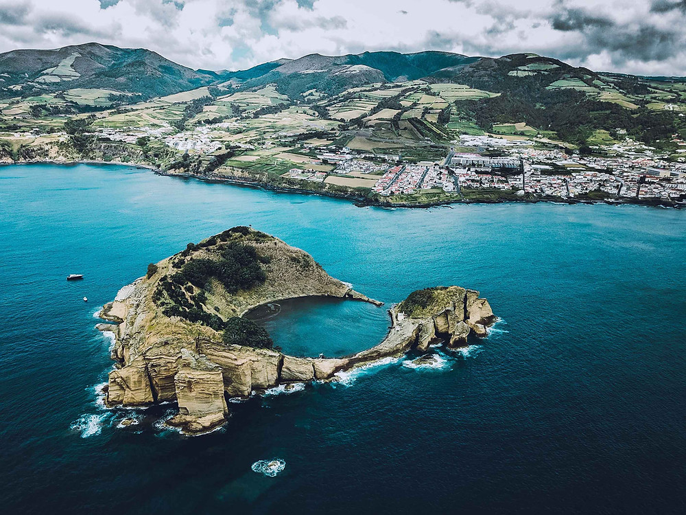 Aerial view of the Islet of Vila Franca Do Campo, Portugal