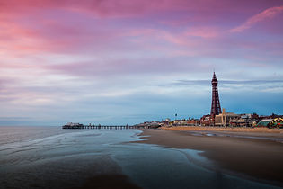 Blackpool beach with Blackpool tower in the distance