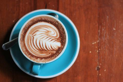 MOCHA LATTE. 2 oz coffee, 10 oz steamed milk, and chocolate syrup.