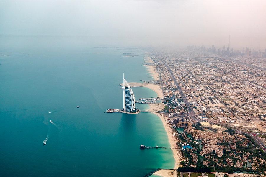 Drone Shot of Burj Al Arab in Dubai