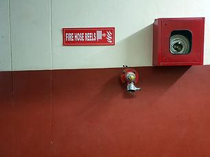 Fire hose on a wall
