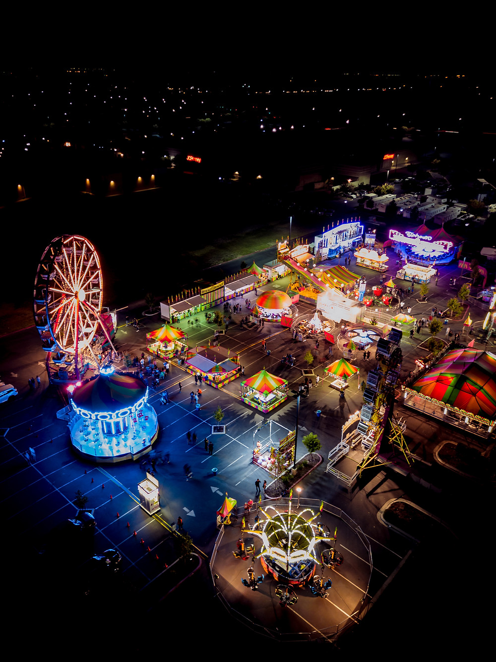 Drone night shot of carnival