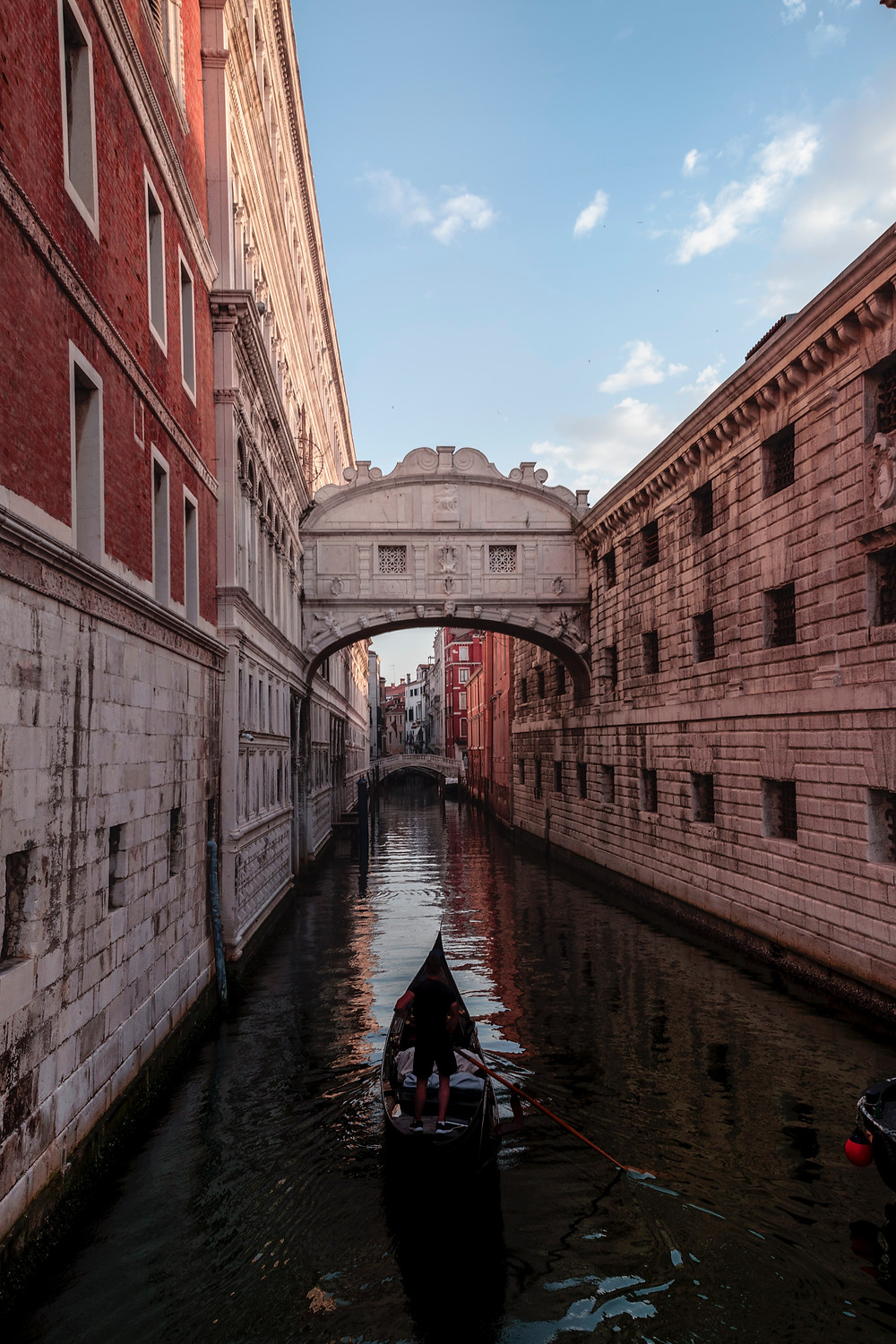 The Bridge of Sighs, Venice, with a gondola in the foreground