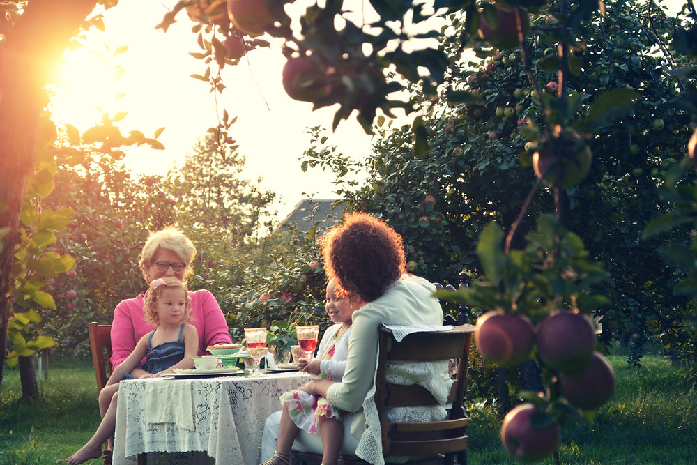 Two women eat in a grape vineyard with two children at a table.