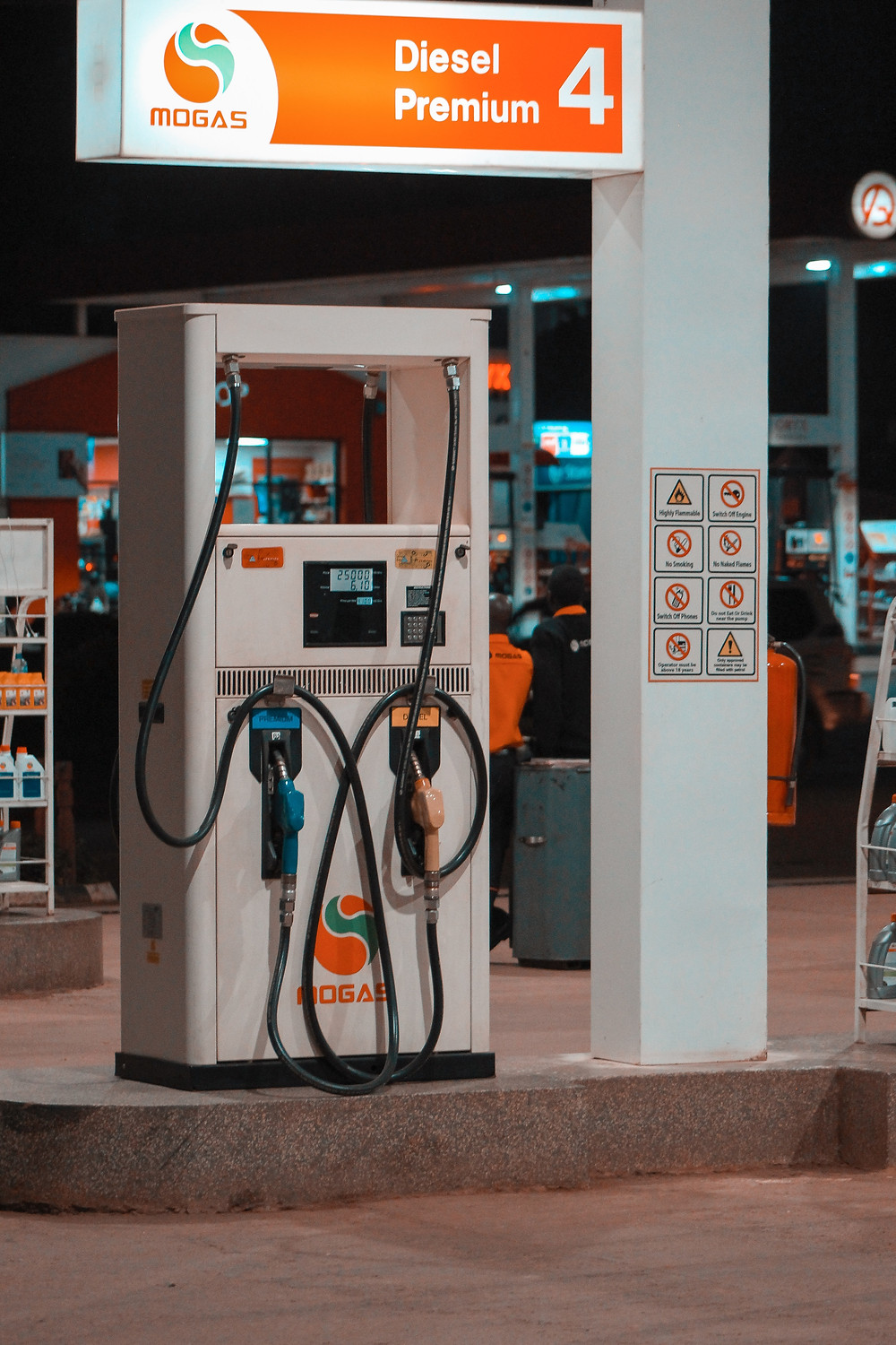 Gas station showing fuel pump for gasoline