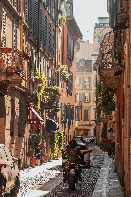 pretty side street in Milan Italy