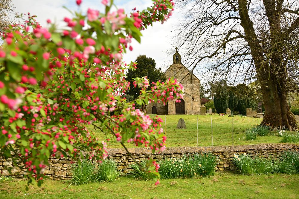 Church set in a garden
