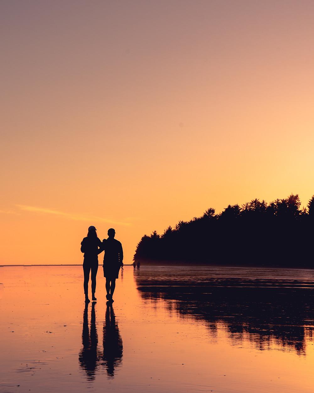 Sunset walks by the beach