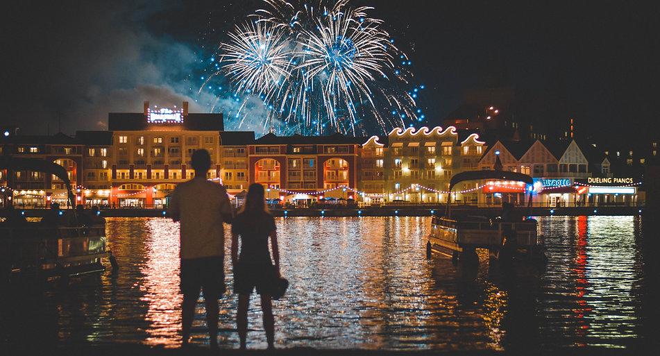 Firework display over Dinsey Boardwalk Resort
