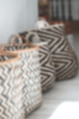 Natural storage baskets black white patten
