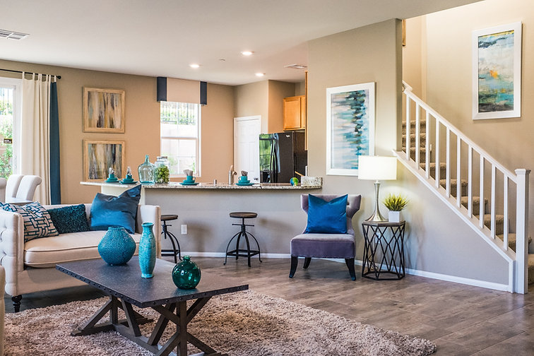 Painted living room and kitchen.