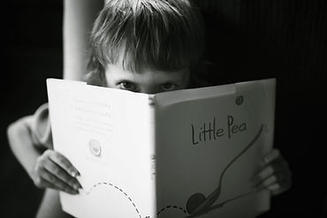 Frustrated boy reading