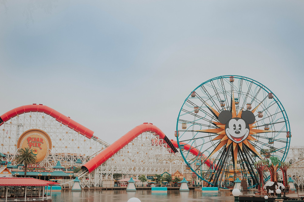 Pixar Pier at Disney California Adventure, view of the ferris wheel and roller coaster