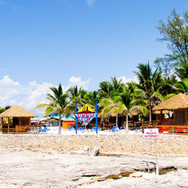 Beachside huts in Dominican Republic
