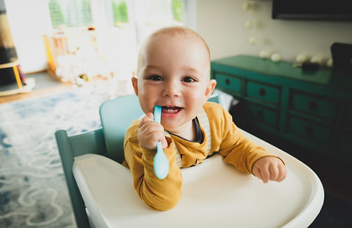 Image by Christian Hermann Baby in high chair ready for introducing solids and strating baby led weaning with a child nutritionist