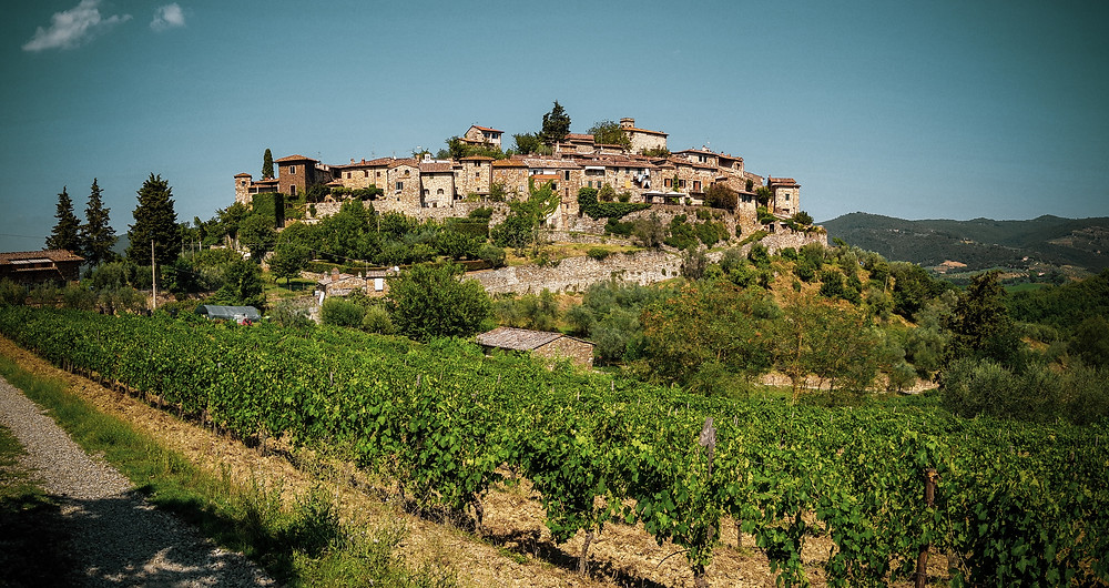 the hilltop town of Greve outside Florence