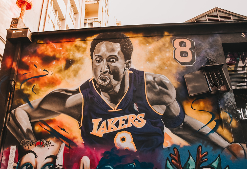 A mural of Kobe Bryant of the Los Angeles Lakers in Downtown LA