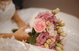 Pink lisianthus bridal bouquet