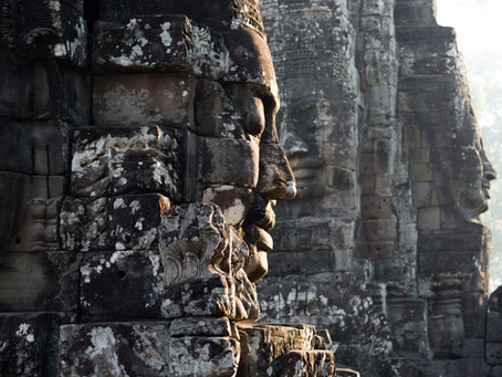 Khmer Bayon Temple: Combination of Mythological Scenes And Large Serene Faces