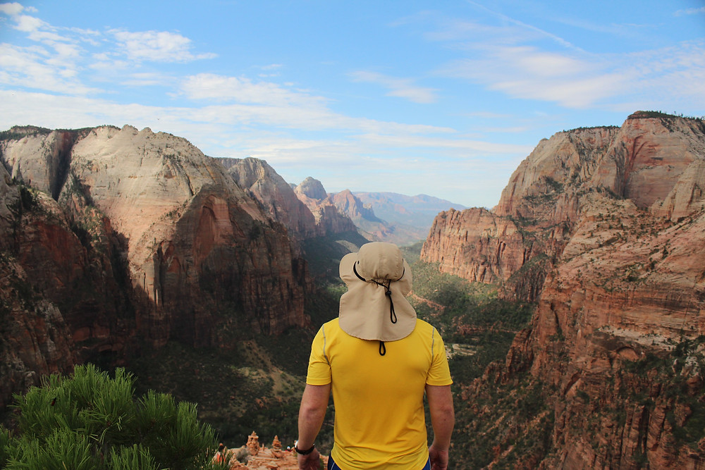A man looking over Zion Canyon