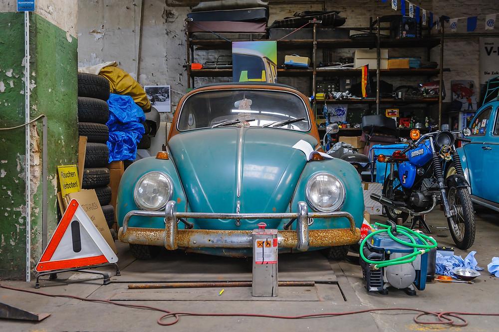 Old VW Bug in garage