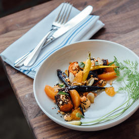Roasted carrot, savory granola and delicate