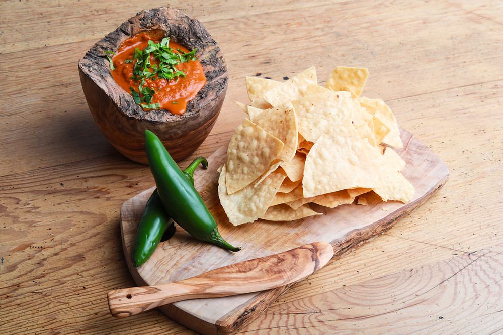 tortilla chips with jalapenos and salsa