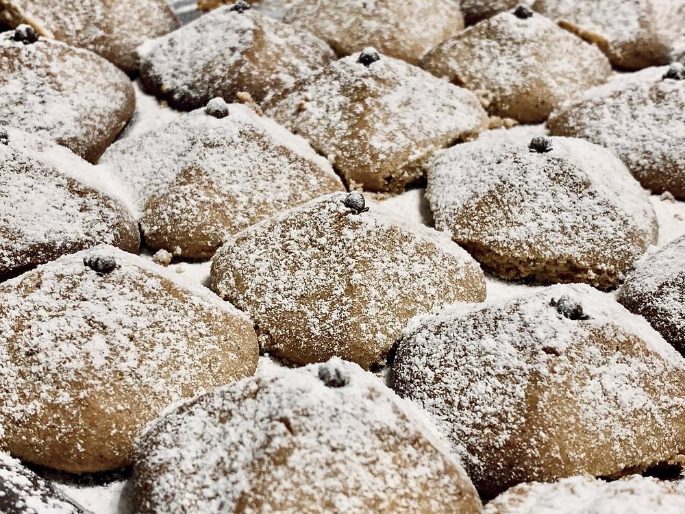 Square powdered Eid-al-Fitr desserts on Ramadan